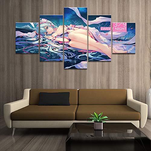 hanmuchen 5 Pannelli Hatsune Fumetti futuristici Soggiorno Decorazione murale Pittura Arte Poster No Frame