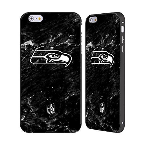 Ufficiale NFL Pattern 2017/18 Seattle Seahawks Nero Cover Contorno con Bumper in Alluminio per Apple iPhone 5 / 5s / SE Marmo