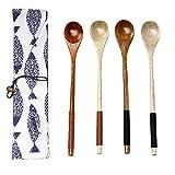 SwirlColor 4 pezzi di legno naturale, Caffè, Tè Spoon manico lungo cucchiaio di legno di miscelazione