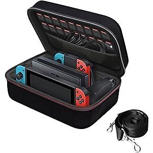 iVoler Nintendo Switch Tasche, Deluxe Harte Tragetasche Schutz Portable Switch Schutzhülle Hülle Schutztasche für die Nintendo Switch Konsolle, und Andere Zubehör Enthält 18 Spielpatronen (Schwarz)