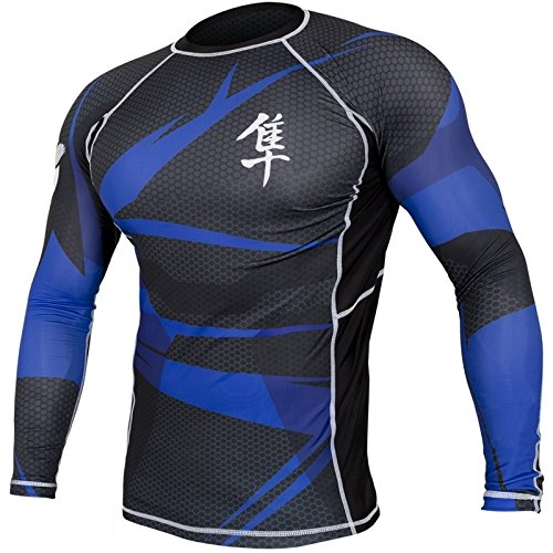 Hayabusa Metaru Rash Guard Long Sleeve (Black/Blue, Large)