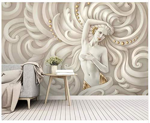 3D wallpaper Tapete dreidimensionaler geprägter Schönheits-Skulptur Angel Sexy Woman Mural 3D Wohnzimmer Schlafzimmer Tv-Hintergrund Kleber senden 400x280cm