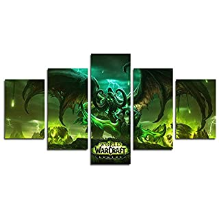 YspgArt66 Print Painting Canvas, 5 Pieces World of Warcraft Art Shadowmoon Valley Storm Illidan scene Wall Art Painting for Home Living Room Office Mordern Decoration Gift(Unframed)......