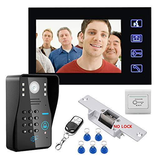 TONGTONG Smarte Türklingel, Video Türbell7 Zoll Monitore Video RFID Password Access Control System DoorPhone Intercom System Kit mit NO-Electric Strike Door Lock