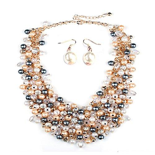 Houda Europa Fashion Trendige Luxus gewebtes Falsche Kragen Jewelry Charm Klassik raffiniertheit Bling Perlen Choker Statement Halskette für (Hot Halskette Pink Pearl)