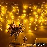 Quntis 4 m × 0,6 m 144 LED Lichterkette Lichtervorhang Warmweiß, Wasserfeste Fenster Lichterkette, Beleuchtung für Weihnachten, Party, Outdoor, Hochzeit, Dekoration usw.