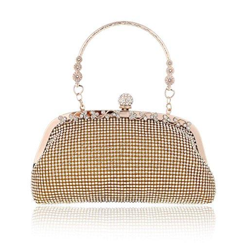 Damara® Damen Glitzernd Kristalle Clutch Abendtaschen Mit Metall Griff Gold