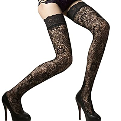 18MM Sexy Womens ladies Black Sheer Floral Lace Top Thigh High Stockings Hosiery Hold Ups