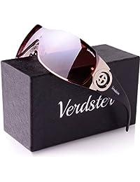 Verdster Trendige Sonnenbrille für Frauen - Spezielle TourDePro Gläser - Zubehör Etui - UV400 Schutz – Metallrahmen - Ideal zum Autofahren Städtetouren