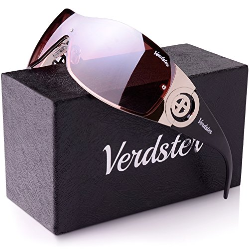 Verdster Trendige Sonnenbrille für Frauen - Spezielle TourDePro Gläser - Zubehör Etui - UV400 Schutz – Metallrahmen - Ideal zum Autofahren Städtetouren (Schwarz/Gold)