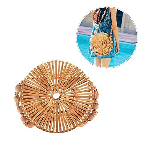 Borsa di bambu,Bloomma Borsa tote fatta a mano,borsa di bambu naturale al 100% Borsa lunga di paglia di paglia per le donne,due dimensioni