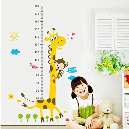 ILS - Abnehmbarer Höhe Tabelle Measure-Wand-Aufkleber Giraffe Aufkleber für Kinder Baby Room