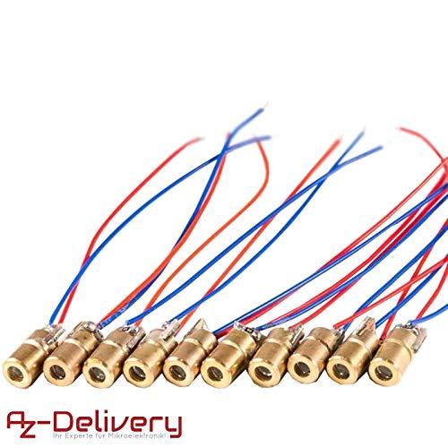 AZDelivery ⭐⭐⭐⭐⭐ 10 x Verkabelt Kupfer Laser Head Diode Lasermodul Laserdiode Modul 15 * 6mm 5V 15 Dioden