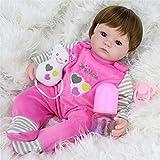 Babypuppe 42 cm, Samber Silikon Bionisch Baby Funktionspuppe mit Zubehör (A)