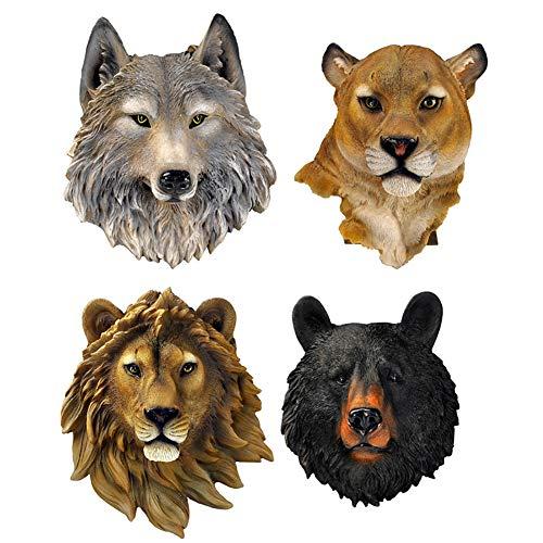 OOFAYWFD An der Wand befestigte Dekorationen, Bär Löwe Leopard Wolf Tiger Zuhause kreative Harz Kunst Kunden Studie Café Handwerk Ornamente