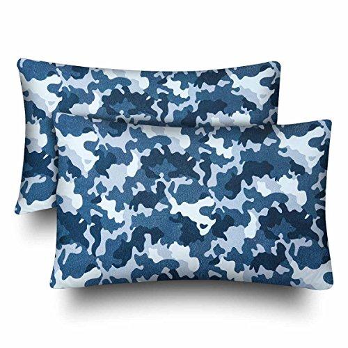 InterestPrint Militär Marine Corps Camo Army Wave Water Camouflage Kissenbezug Standard Größe 20x30 Set von 2 rechteckigen Kissenbezügen Schutz für Home Couch Sofa Bettwäsche Deko