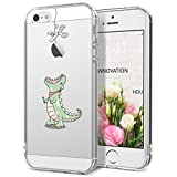 GrandEver Coque iPhone 5 / 5s / SE Silicone Transparente avec Motif ( Pomme ) Apple Créatif Design Souple TPU Gel Bumper Kawaii Once Piece Antichocs Anti-rayures Ultra Fine Crystal Clear Housse Etui Case Cover pour iPhone 5 / iPhone 5s / iPhone SE --- Dinosaure