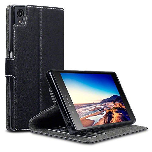 Terrapin, Kompatibel mit Sony Xperia Z5 Hülle, Leder Tasche Case Hülle im Bookstyle mit Standfunktion Kartenfächer Schwarz