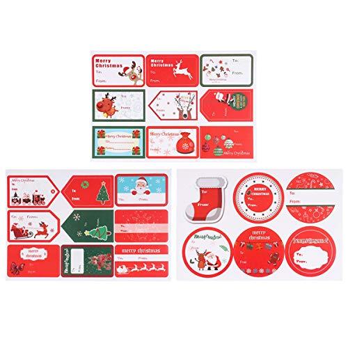 Toyvian 18 Feuilles de Cadeau de Dessin animé de Papier d'étiquette Auto-adhésive d'autocollant de Noël étiquettes Autocollants Mignons pour Enfants