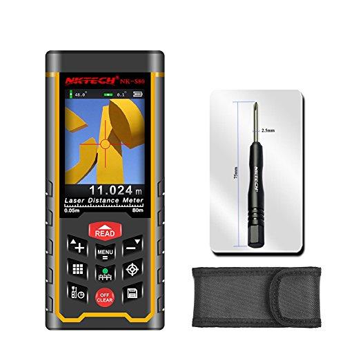Nktech misuratore di distanza laser telemetro laser nk-s80nk-s12080m 120m con fotocamera Tool m/in/ft tape area volume angolo misura ricaricabile USB TFT display colorato 100dati