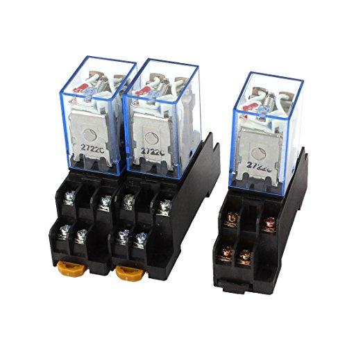 3PCS AC 110V/120V Coil Red Light DPDT 8Pin Power Relay + Sockel (120v Coil)