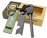 Topways Fire Starter Feuer Starter Magnesium Feuerstein Feuerzeu Kit Sturm + Ruler + Whistle Überlebens Werkzeug Set für Outdoor Camping Wohn Überleben