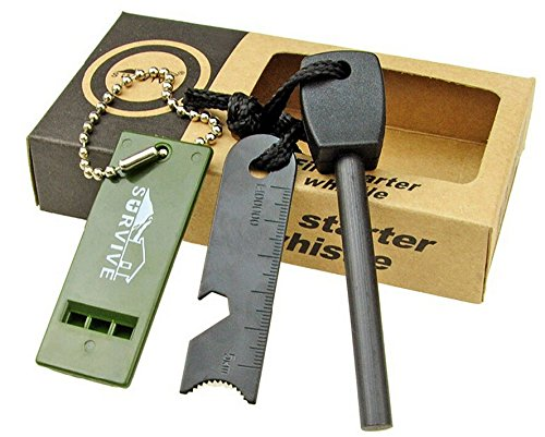 Topways® Fire Starter Allume feu magnésium Flint Pierre Kit Briquet Striker + Kit Ruler + Whistle survie Outil pour camping en plein air Salon de survie