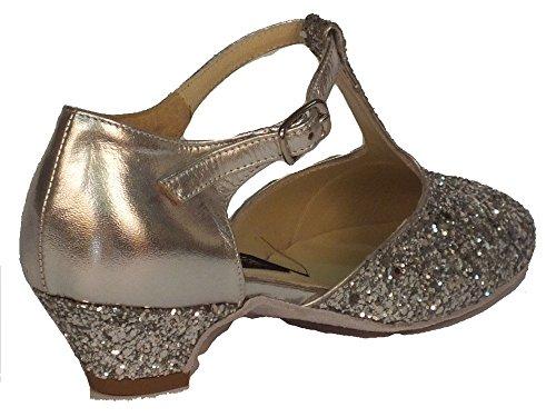 Scarpa da bambina per ballo standard in capretto e cristal colore argento Argento con Glitter