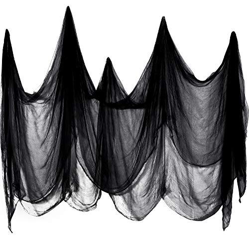 Boao Gruseliger Stoff Gruseliges Käsetuch Baumwoll Musselin Tücher Halloween Dekorationen für Spuk Haus Party Türen Outdoor (Schwarz, 215 x 500 cm)