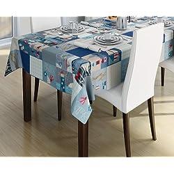 140x 250cm rectangular PVC/vinilo mantel–azul PATCHWORK barcos/náutica