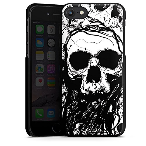 Apple iPhone 7 Hülle Case Handyhülle Skull Totenkopf Totenschädel Hard Case schwarz