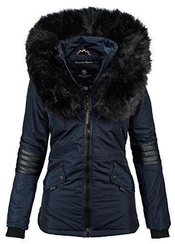 NavahooB369 –Giacca invernale da donna stile parka, in pelliccia sintetica blu navy