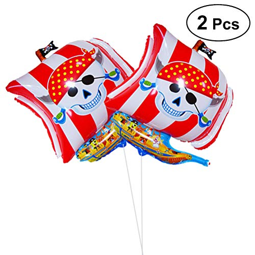 nschiff Ballon Piraten Folienballons Halloween Party Geburtstag Dekoration (Rot) ()