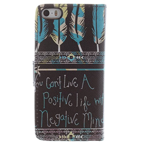 Custodia protettiva per iPhone 4/4S, gocdlj Ultra Thin PU Cuoio Flip Cover Custodia Cover Custodia in pelle Protettiva Flip Case Cover Per iPhone 4/4S Libro Stile Cassa Protective Case Custodia Bumper Stamm Feder