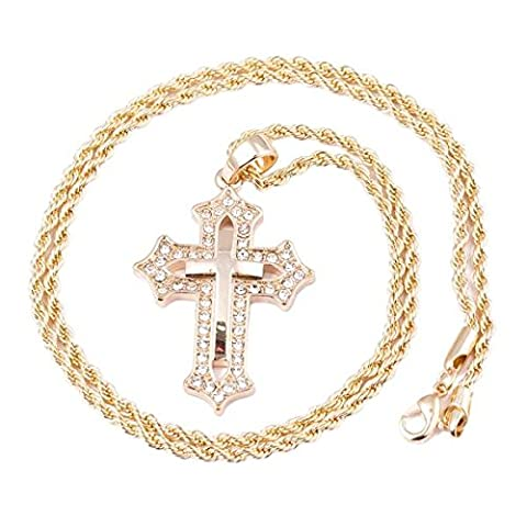 Premium 14K vergoldet Kreuz Micro Anhänger Iced Out Eisen Seil Kette 3mm 61cm Hip Hop Bling Halskette