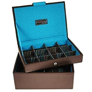 Mens Brown Mini Stacker Watch and Cufflinks Box Set of 2 Trays as Shown Jewellery / watch Box