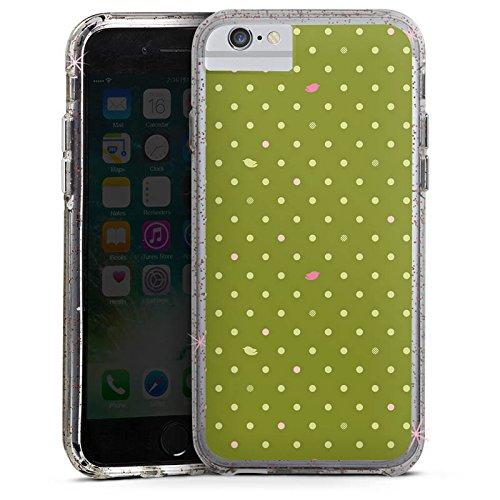 Apple iPhone 6s Bumper Hülle Bumper Case Glitzer Hülle Punkte Green Muster Bumper Case Glitzer rose gold