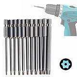 JTENG Torx Extra-lange Magnetisch Schraubenzieher Bits S2 Stahl 1/4 Zoll Sechskant Schaft Schraubendreher Set,11tlg 75mm,T6-T40