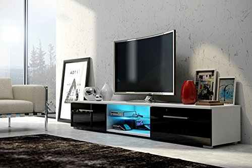 Meuble TV Edith - Bas/Banc (140 cm Blanc Mat/Noir Brillant, LED en Bleu)