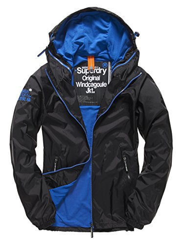 SUPERDRY-Dual-ZIP-Through-Cagoule-Abrigo-Impermeable-para-Hombre-Negro-BlackRoyal56A-S