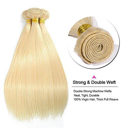 Extension capelli veri tessitura matassa biondi grado 7a - 100% remy virgin human hair naturali umani lisci, 613# biondo chiarissimo 50cm-100g