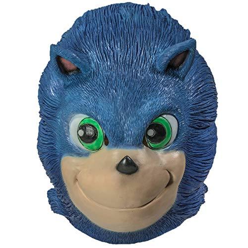 Sonic Kostüm Erwachsene Für - Chiefstore Sonic Der Igel Maske Voller Kopf Blau Latex niedlichen Helm Cosplay Kostüm Merchandise für Erwachsene Kleidung Replik
