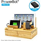 """PowerBot PB5100 40Watt 8Amp 5 USB Port Rapid Charger Universal Desktop Charging Station w/Bamboo Finish, Multi Device Charging Dock, Organizer Stand for Tablets, Apple Watch, Smartphones up to 5.7"""""""