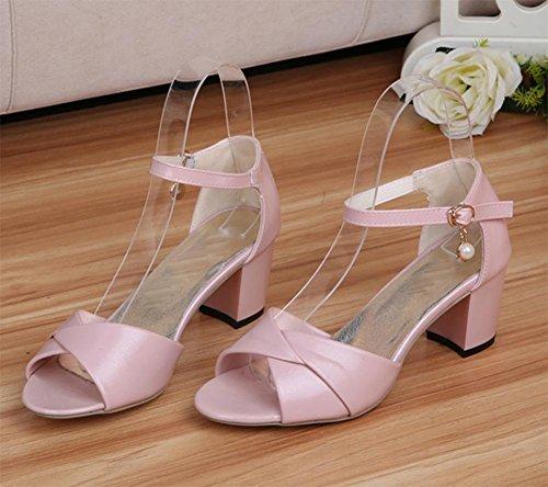 Weibliche Sommer Sandalen mit dick mit Frauen Sandalen Fischkopf Wort Schnalle Schuhe Wild Pink