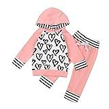 URSING_Babykleidung Ursing Kleinkind Säugling Baby Junge Mädchen Blumen Drucken Sweatshirt Kapuzenpullover Tops + Jogginghose Streifen Hose Outfit Pulloverhemd Stitching Kleider Set (12-18M, Rosa)