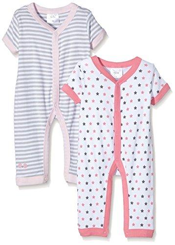 Twins Baby, Mädchen Spieler kurzarm, 2er pack, Mehrfarbig (Weiss/Pink 810013), 80