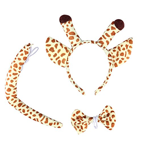 LUOEM Giraffe Kostüm Giraffe Ohren Stirnband Schwanz Kostüm Zubehör Set Tier Fliege für Halloween Cosplay Party 3 PCS (Halloween Tiere)