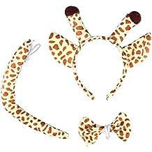 OULII Disfraz de Animal Jirafa Diadema de Orejas Cola y Pajarita Cosplay Niños Bebe 3 Unidades