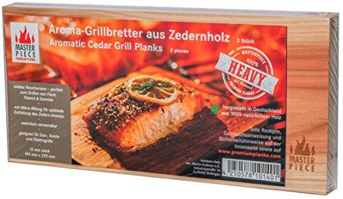 "Masterpiece ""heavy"" - Aroma Grillbretter aus Zedernholz, 15 mm stark, Grillplanke Premium Qualität, Set á 2 Stk, Maße: 145 x 295 mm, BBQ Räucherbretter inkl. Rezepte"