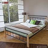 Homestyle4u 1275, Metallbett 140 x 200 Mit Lattenrost, Bettgestell Metall, Pfosten Holz Natur
